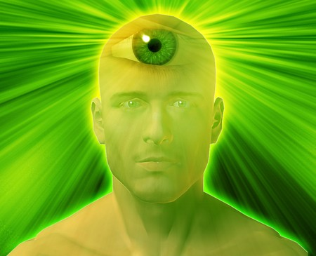 Man with third eye, psychic supernatural senses photo