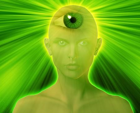 Woman with third eye, psychic supernatural senses photo