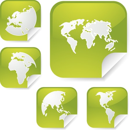 eastern europe: World map icons on square sticker shapes