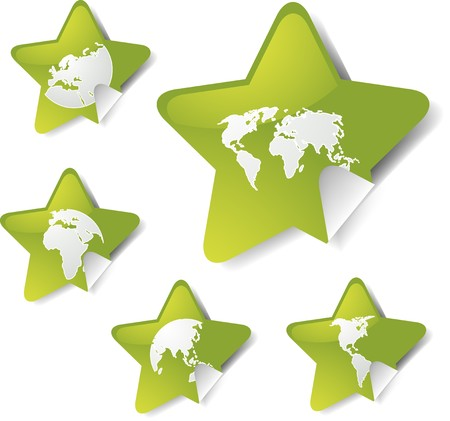 five pointed: World map icons on star sticker shapes