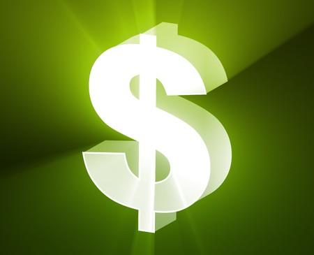 greenbacks: US Dollar currency symbol illustration, glowing light effect Stock Photo