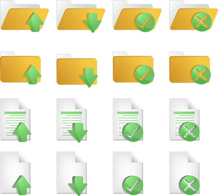 operations: Document folder icon set, with different operations