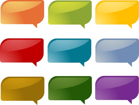 rounded rectangle: Set of speech bubble icons in multiple colors