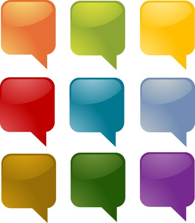 Set of speech bubble icons in multiple colors photo