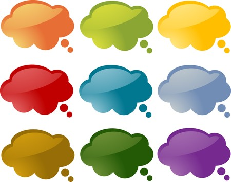 describe: Set of speech bubble icons in multiple colors