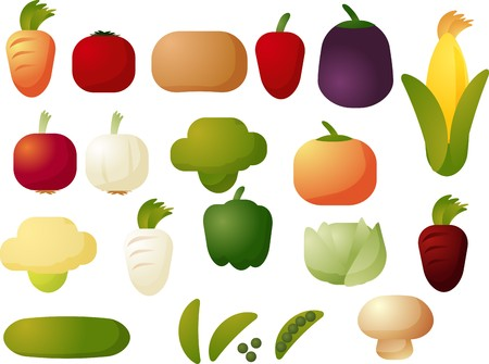 cubed: Assorted raw vegetable icons, chubby cubed style Stock Photo