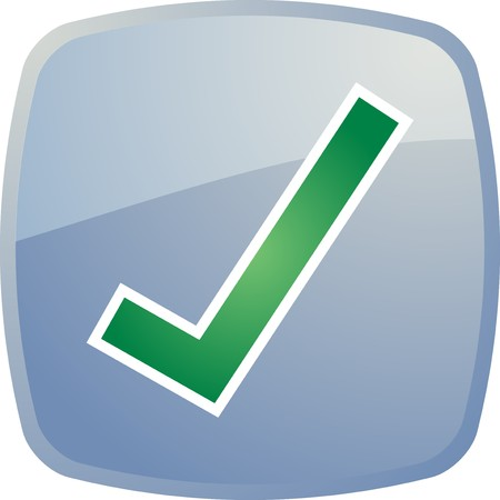 Confirm navigation icon glossy button, square shape Stock Photo - 4522948