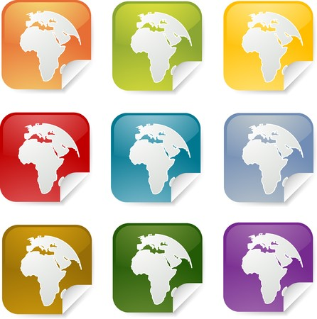 Map of Africa on square sticker. various colors photo