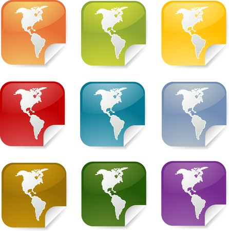 Map of Americas on square sticker. various colors photo