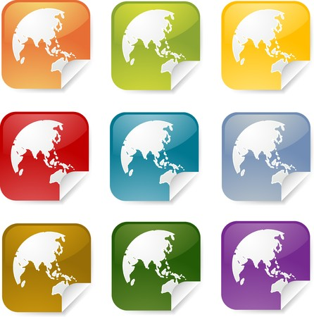 Map of Asia on square sticker, various colors photo