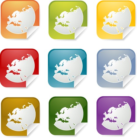 Map of Europe on square sticker, various colors photo