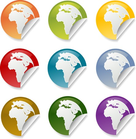 Map of Africa on round sticker. various colors photo