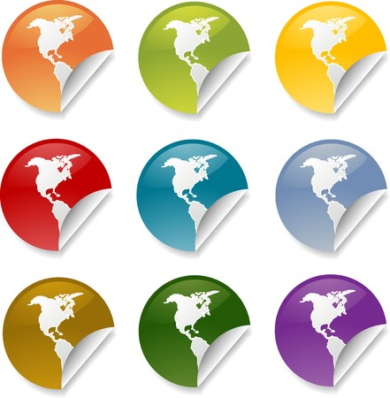 Map of Americas on round sticker. various colors photo
