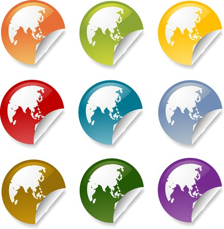 far east: Map of Asia on round sticker, various colors