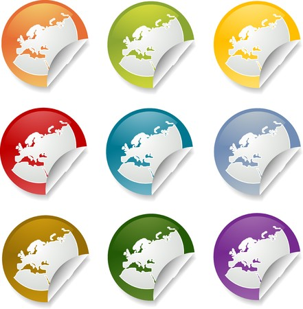 Map of Europe on round sticker, various colors photo