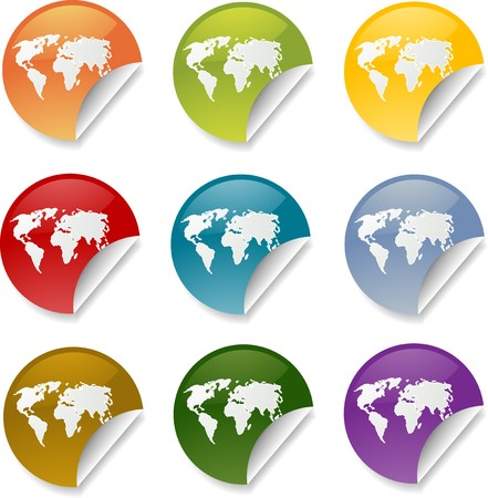 Map of the world on round sticker, various colors photo