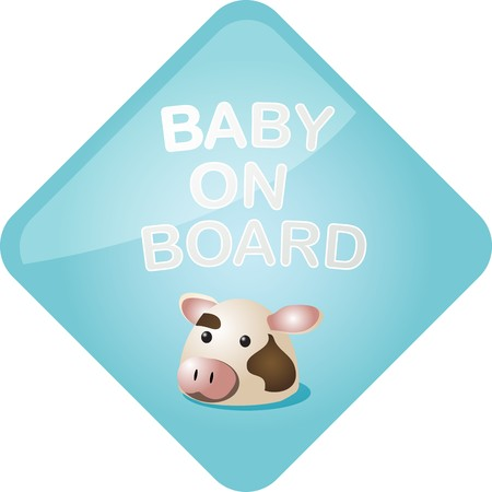 Baby on board sticker with cow, sign illustration illustration