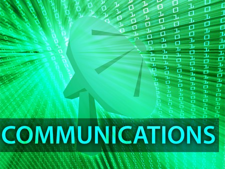 satellite transmitter: Communications illustration digital collage with satellite dish