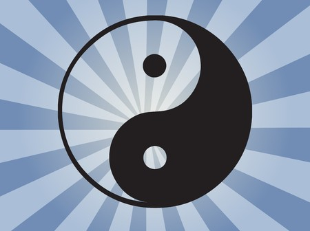good karma: Yin yang symbol oriental representation of duality Stock Photo