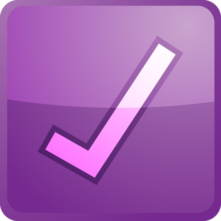 Yes navigation icon glossy button, square shape Stock Photo - 4558629