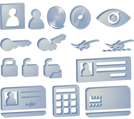 Security icon button illustration set, 3d style look Stock Illustration - 4578600
