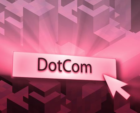 clicking: Dotcom button, illustration clicking on web technology
