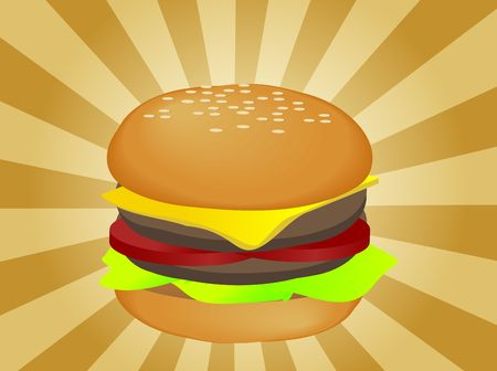 pickle: Hamburger illustration, layered burger with cheese vegetables