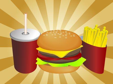 Ilustraci�n combo de comida r�pida, bebidas hamburge fritas Foto de archivo - 4590646