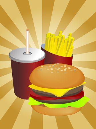 weiner: Fast food combo illustration, hamburge fries drink Stock Photo