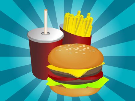 Fast food combo illustration, hamburge fries drink Stock Photo