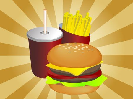 Fast food combo illustration, hamburge fries drink illustration