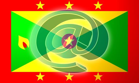 at superimposed over Flag of Grenada, national country symbol illustration indicating national internet illustration