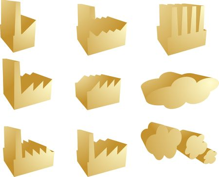 Icon set of factory industry illustration clipart 3d illustration