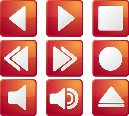backwards: Audio music player icon set, square buttons Stock Photo
