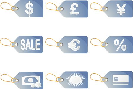 labelling: Shopping sales labels with promotion discount icons