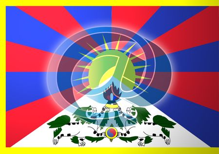 tibet: at superimposed over Flag of Tibet, national symbol illustration clipart indicating national internet Stock Photo