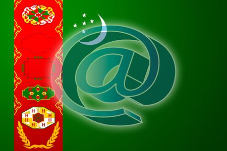 at superimposed over Flag of Turkmenistan, national country symbol illustration indicating national internet Stock Illustration - 4596222