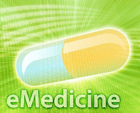 E-medicine, Online medicine, ecommerce health pharmacy illustration Stock Illustration - 4596267