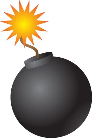 gunpowder: Old fashioned round black bomb with lit fuse