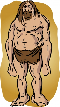 Caveman illustration, sketch of brutish muscular primitive man illustration