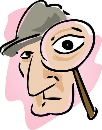 policia caricatura: Ilustraci�n de dibujos animados de detective con lupa