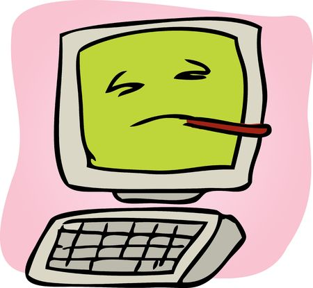 problematic: Cartoon illustration of a sick computer with thermometer
