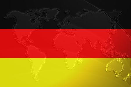 Flag of Germany, national country symbol illustration with world map, metallic embossed look illustration
