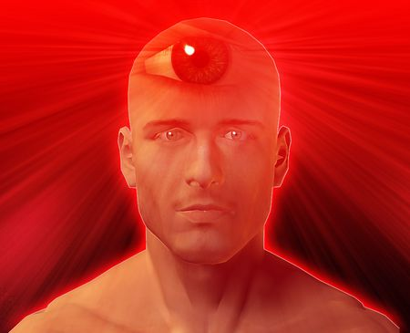 Man with third eye, psychic supernatural senses Stock Photo - 4622747