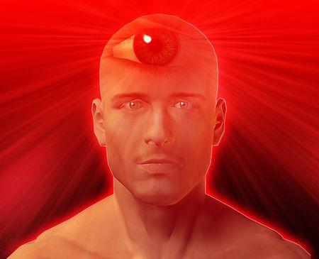 Man with third eye, psychic supernatural senses Stock Photo - 4622747