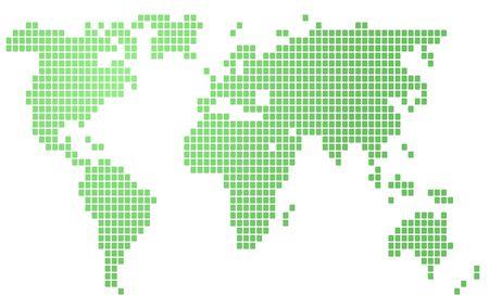 hightech: Map of the world illustration, mosaic block style Stock Photo