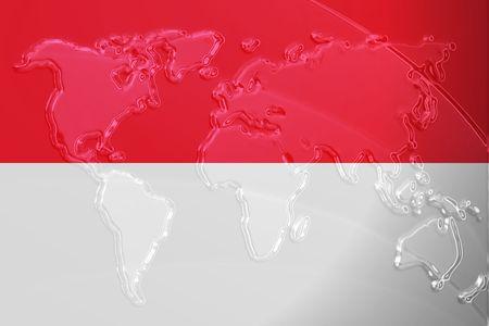 Flag of Monaco, national country symbol illustration with world map, metallic embossed look illustration