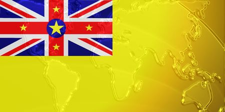 niue: Flag of Niue, national country symbol illustration with world map, metallic embossed look