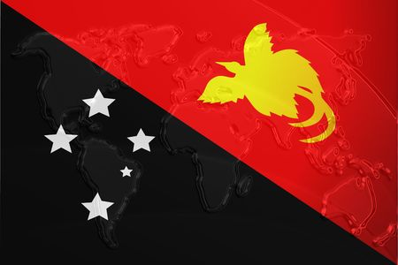 new look: Flag of Papua New Guinea, national country symbol illustration with world map, metallic embossed look