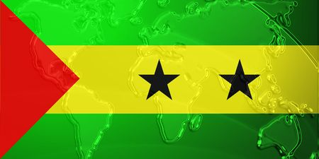 tome: Flag of Sao Tome and Principe, national country symbol illustration with world map, metallic embossed look